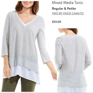 Two by Vince Camuto mixed media tunic top blouse